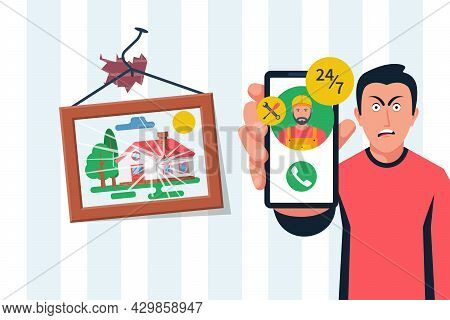 Person Cannot Attach A Picture On The Wall. Call Masters For All Hands. Call On The Phone. Call Repa