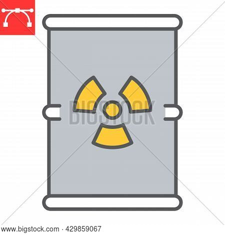 Barrel With Radioactive Waste Color Line Icon, Recycle And Ecology, Chemical Waste Vector Icon, Vect