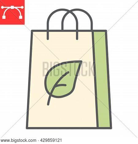 Eco Bag Color Line Icon, Reusable And Ecology, Ecobag Vector Icon, Vector Graphics, Editable Stroke