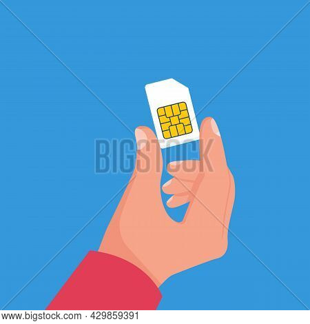Human Holding Sim Card In Hand. Vector Illustration Cartoon Design. Isolated On Background. Mobile E