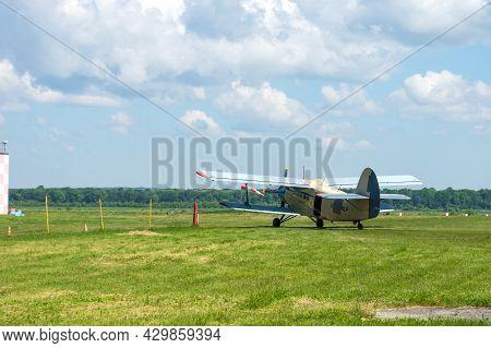 Gorodok.ukraine. June 6, 2021. Tsuniv Airfield. Tsuniv Airfield. Biplane Taxiing To The Runway. Spor