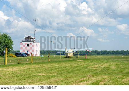 Gorodok.ukraine. June 6, 2021. Tsuniv Airfield. Tsuniv Airfield. Biplane Preparing For Takeoff. Spor