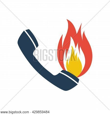 Hot Line Icon. Handset And Fire. Online Support. Customer Support. Call Center. Customer Assistance