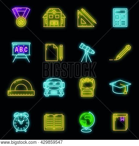 Concept Set Back To School Neon Glow Icon, 16 Stationery Education Item Educational Process, Flat Ou