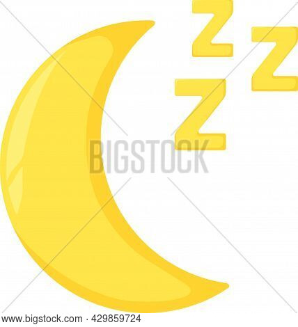 Concept Moon With Z Label Symbol, Good Night Moonlight Flat Vector Illustration, Isolated On White.