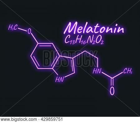 Human Hormone Melatonin Periodic Element Concept Chemical Skeletal Formula Icon Label, Text Font Neo