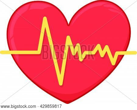 Human Heart With Heartbeat Icon Concept Cartoon Vector Illustration, Isolated On White, Healthy Life