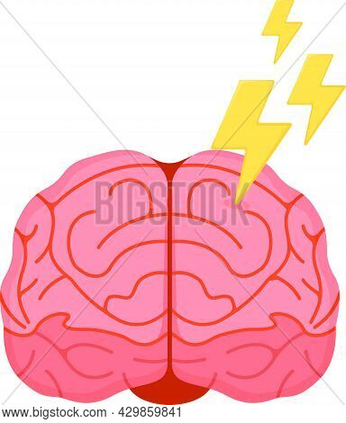 Human Brain Icon, Concept Cartoon Vector Illustration, Isolated On White, Healthy Mental Lifestyle S