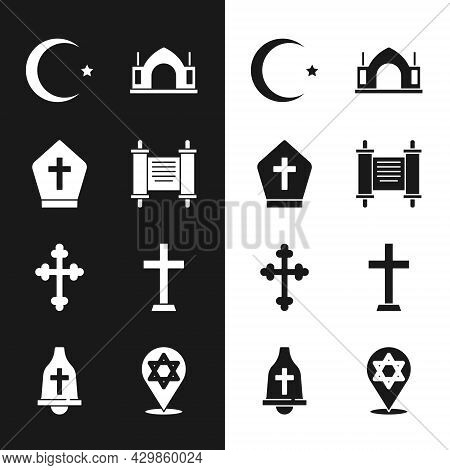 Set Decree, Paper, Parchment, Scroll, Pope Hat, Star And Crescent, Hindu Spiritual Temple, Christian