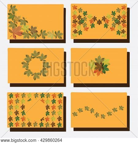 A Set Of Gift Cards On An Autumn Theme With Falling Leaves.