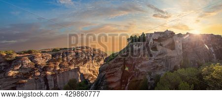 Panorama Of Sunset Clouds Sky And Meteora Monastery In Greece