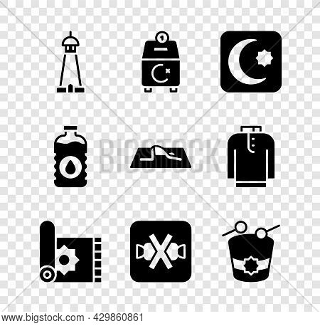 Set Mosque Tower Or Minaret, Donate Pay Your Zakat, Star And Crescent, Traditional Carpet, No Sweets