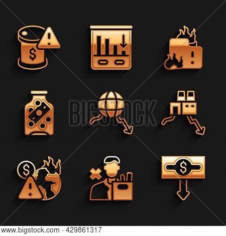 Set Global Economic Crisis, Employee Dismissal, Dollar Rate Decrease, Shutdown Of Factory, Glass Mon