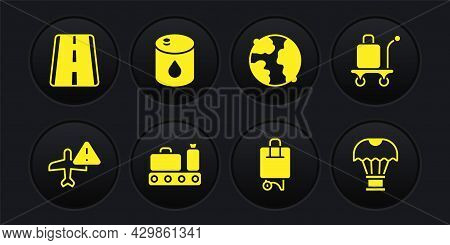 Set Warning Aircraft, Trolley Baggage, Conveyor Belt With Suitcase, Suitcase, Worldwide, Barrel Oil,