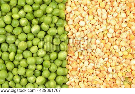 Background Of Fresh Green Peas And Dry Yellow Grits.the Concept Of Growing And Caring For Agricultur