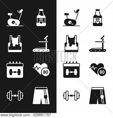 Set Treadmill Machine, Sweaty Sleeveless T-shirt, Stationary Bicycle, Vitamins, Calendar Fitness, He