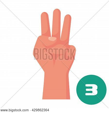 Three Fingers. 1 2 3 4 5 Flat Icon. Hand Gestures And Numbers With Your Fingers. Vector Illustration