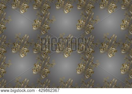 Golden Element On Brown, Gray And Beige Colors. Antique Golden Repeatable Wallpaper. Damask Seamless
