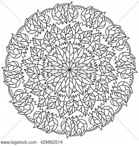 Ornate Mandala With Bunches Of Leaves And Patterns, Autumn Meditative Coloring Page Vector Illustrat