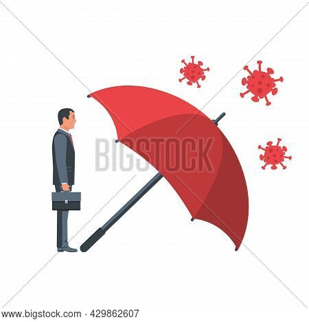 Protecting Coronavirus Concept. Man Stands Under The Umbrella, An Protects Against Bacteria Of Coron