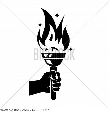 Black Torch Icon. Silhouette Hand With Flaming Torch. Sports Concept Victory. Winner Holding Golden