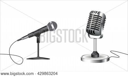 Microphones. Music Studio Miscellaneous Equipment Microphone Vector Realistic Photographs Of Vintage