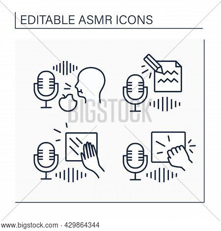 Asmr Line Icons Set. Scratching, Knocking, Eating Food And Writing On Paper Sounds.modern Trends. In