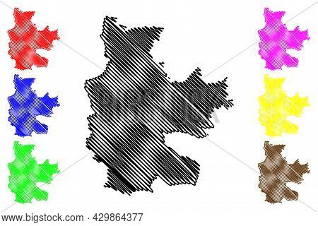 Cottbus City (federal Republic Of Germany, Urban District, State Of Brandenburg) Map Vector Illustra