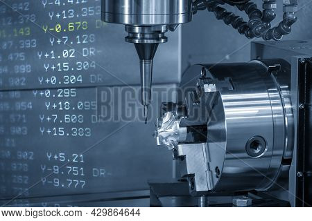 The Abstract Scene 4-axis  Machining Center Cutting The Turbocharger Parts With G-code Data Back Gro