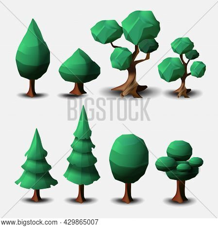 Vector Set Of Deciduous And Coniferous Trees Isolated On A White Background. Vector Cartoon Trees, L