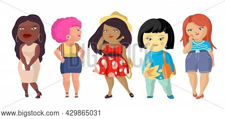 Body Positive Women Vector Illustration. Plus Size Girls Cartoon Characters Of Different Nationaliti