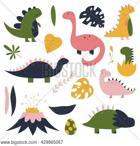Colorful Hand Drawn Set With Dinosaur, Tropical Leaves, Volcano, Baby Dino In Egg. Colorful Design F