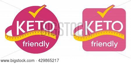 Keto Friendly Sticker For Food That Satisfy Low-carbohydrate Diet Conditions. Pink Bubble With Measu