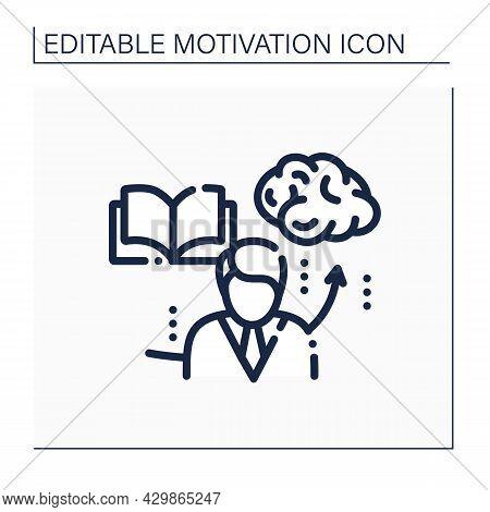 Motivational Books Line Icon.motivation Literature For Improving Skills And Self-development. Inspir