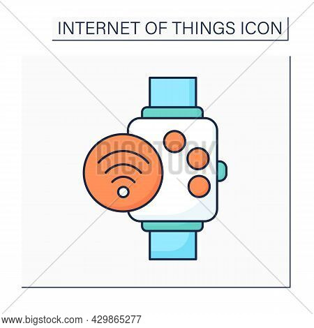Smart Watch Color Icon. Smart Modern Device And Accessory. Nfc Wristwatch. Digital Smart Technologie