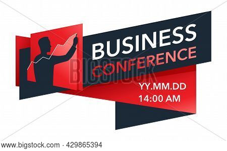 Business Conference Flyer Or Web Banner Template For Promotion Of Event - Human Hand Silhouette Draw