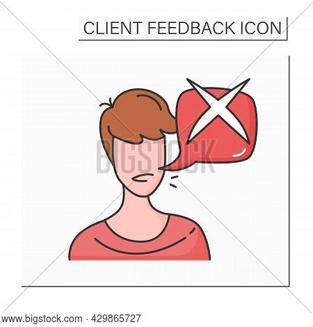 Customer Negative Feedback Color Icon. User Avatar With Negative Check Mark Speech Bubble. Marketing