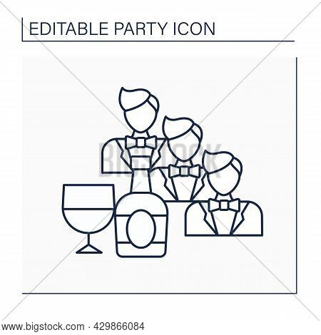 Bachelor Party Line Icon. Party For Man Who Is Going To Get Married. Only Male Friends Invited. Stag