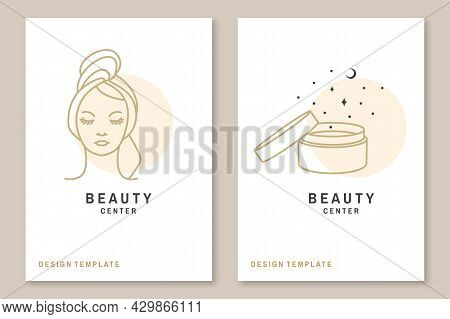 Woman Face And Cosmetic Cream For Logo, Label, Badge, Emblem. Pretty Lady Wrap Towel Beauty Center S
