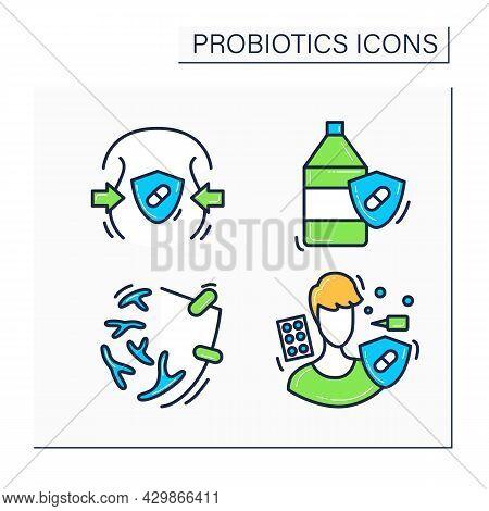 Probiotics Color Icons Set. Anti Allergic And Anti Obesity Activity, Antibiotic Resistance, Probioti