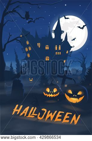 Vector Mystical Illustration. Background Fog On Background Full Moon With Silhouettes Of Scary Chara