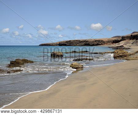 Beautiful Wild Beach, Las Coloradas, Coast Of Jandia, Fuerteventura, Canary Islands, Spain