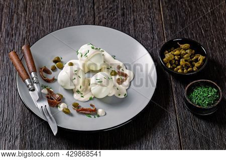 Oeuf Mayo, Hard Boiled Eggs Covered With A Sauce Consisting Of Mayonnaise Garnished With Snipped Chi