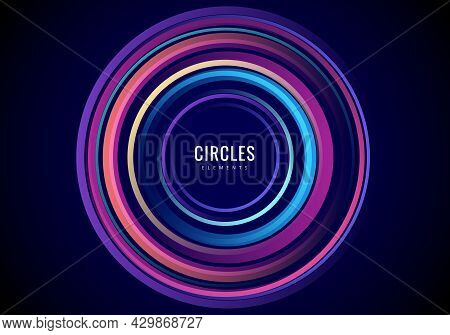Abstract Colorful Radial Circles Concentric On Black Background. Vector Illustration. Vector Illustr