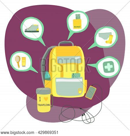 Time To Travel. Vector Illustration With Travel Items: Backpack, Phone, First Aid Kit, Clothes, Docu