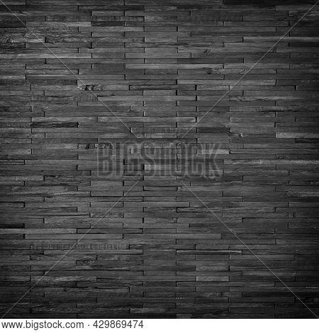 Black Wooden Plank Wall Panel. Dark Wooden Texture Background. Wooden Floor Board