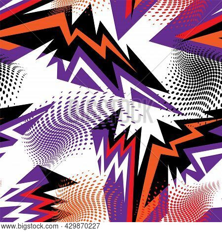 Abstract Seamless Urban Pattern With Curved Geometry Elements And Dots