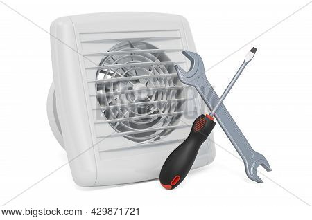 Repair And Service Of Extractor Fans Concept. 3d Rendering Isolated On White Background