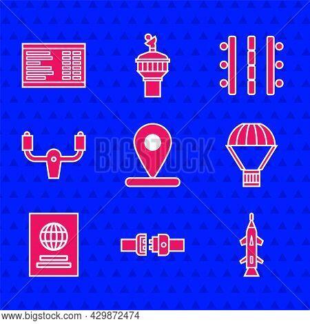 Set Location, Safety Belt, Rocket, Box Flying Parachute, Passport, Aircraft Steering Helm, Airport R