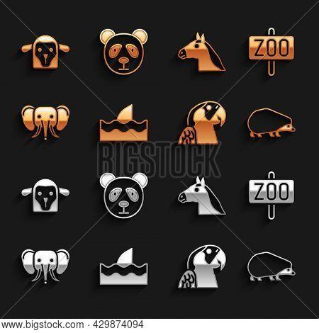Set Shark Fin In Ocean Wave, Zoo Park, Hedgehog, Macaw Parrot, Elephant, Horse Head, Sheep And Cute